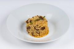 Risotto caldo del piatto su fondo bianco Fotografia Stock
