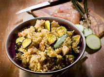 Risotto with  chicken chest Stock Photo
