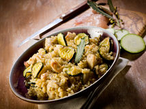 Risotto with  chicken chest Royalty Free Stock Photo