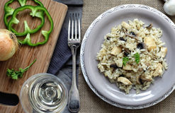 Risotto with chicken and mushrooms Royalty Free Stock Photography