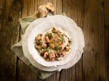 Risotto com cogumelo e salsicha Fotografia de Stock