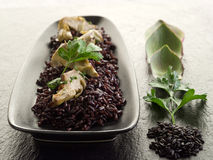 Risotto con arroz negro Fotos de archivo libres de regalías