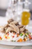 Risotto con carne e le verdure Fotografia Stock