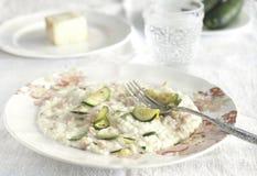Risotto con il formaggio dello zucchini, del pancetta e del taleggio fotografia stock libera da diritti