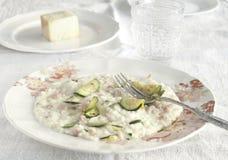 Risotto con il formaggio dello zucchini, del pancetta e del taleggio fotografie stock