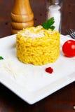 Risotto con zafferano, alla del risotto milanese Fotografie Stock Libere da Diritti