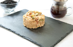 Risotto cooked in tea with zucchini , smoked cheese and bacon Stock Photography