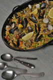 Risotto de nourriture avec des mollusques et crustacés Photo stock