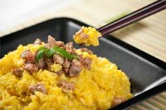 Risotto dello zafferano con il porco del curry Fotografia Stock Libera da Diritti