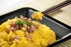 Risotto do aç6frão com carne de porco do caril Foto de Stock Royalty Free