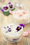 Risotto with edible flowers. Stock Images
