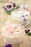 Risotto with edible flowers. Royalty Free Stock Image