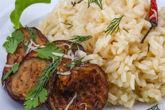Risotto with eggplant Royalty Free Stock Photography