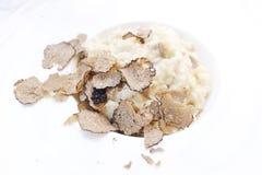 Risotto et portion noire de truffe dans un plat blanc Images stock