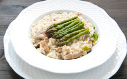 Risotto Giuseppe Verdi with asparagus mushrooms Stock Photography
