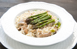 Risotto Giuseppe Verdi with asparagus mushrooms Royalty Free Stock Image