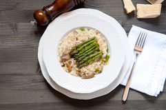 Risotto Giuseppe Verdi with asparagus mushrooms Royalty Free Stock Images