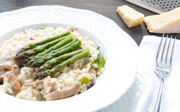 Risotto Giuseppe Verdi with asparagus mushrooms Stock Photos