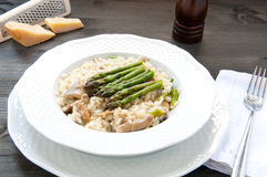 Risotto Giuseppe Verdi with asparagus mushrooms Royalty Free Stock Photography