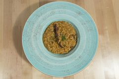 Risotto with grilled octopus royalty free stock photos
