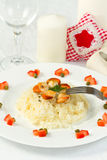 Risotto with grilled scallops Stock Photo