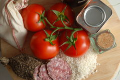Risotto ingredients from above Royalty Free Stock Photo