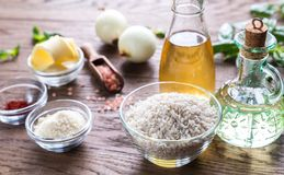 Risotto ingredients. Ingredients for risotto on the wooden table Stock Photo