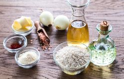 Risotto ingredients. Ingredients for risotto on the wooden  table Stock Photography