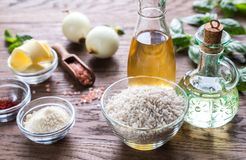 Risotto ingredients Royalty Free Stock Images