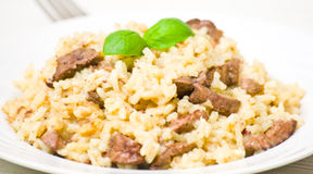 Risotto with liver Stock Photo