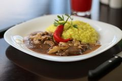 Risotto with meat royalty free stock photos