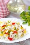 Risotto med grönsaker och havre arkivfoton