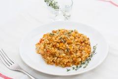 Risotto med tonfisk och grönsaker Royaltyfria Foton
