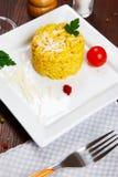 Risotto met saffraan, risottoalla milanese Royalty-vrije Stock Fotografie