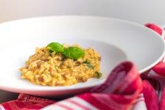 Risotto mit getrockneten Tomaten, arugola und Basilikum Lizenzfreie Stockfotos
