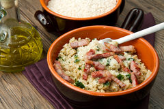 Risotto with  mushrooms and bacon Royalty Free Stock Images