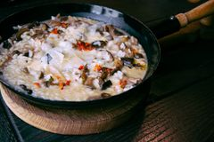 Risotto with mushrooms in cooking pan. Healthy vegetarian meal Stock Photos