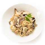 Risotto with mushrooms. Dish of risotto with oyster mushrooms, Italian Cuisine Royalty Free Stock Photo
