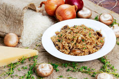 Risotto mushrooms with parmesan cheese, fresh herbs, rice, onion. Stock Photography