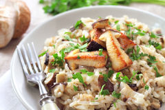 Risotto with mushrooms and parsley Royalty Free Stock Photography