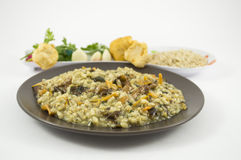 Risotto with mushrooms. A plate of risotto with mushrooms and its ingredients on white background Stock Image