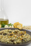 Risotto with mushrooms. A plate of risotto with mushrooms and its ingredients on white background Stock Photos