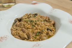 Risotto With Mushrooms. Tasty Italian vegetarian dish with variety of vegetables stock images