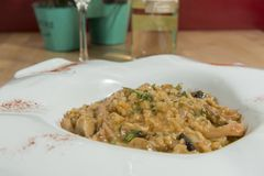 Risotto With Mushrooms. Tasty Italian vegetarian dish with variety of vegetables stock photos
