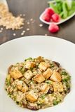 Risotto with mushrooms, toast, parmesan and greens in a large white plate on a dark wooden table. In the background, radish with h. Erbs and spices. National Stock Photography