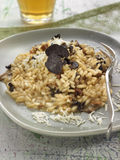 Risotto with mushrooms,truffles and parmesan stock photo