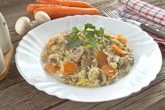 Risotto with mushrooms and vegetables in plate. On table Stock Image