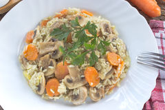 Risotto with mushrooms and vegetables in plate Royalty Free Stock Photo