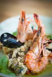 Risotto with mussels, prawns and seafood Royalty Free Stock Photography