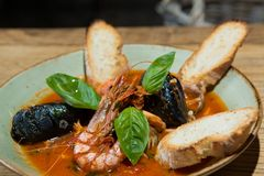 Risotto with mussels, prawns and seafood Stock Image